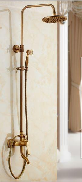 Душевая система стойка со смесителем краном верхним душем и лейкой бронза