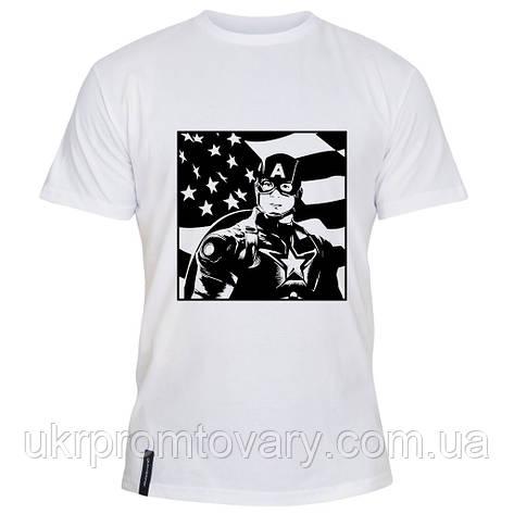 Мужская футболка - Capitain America флаг, отличный подарок купить со скидкой, недорого, фото 2