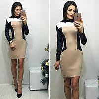 Платье-мини с кожаными отделками