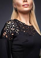 Платье Богини с Перфорацией Миди с Длинным Рукавом Черное р. S-XL