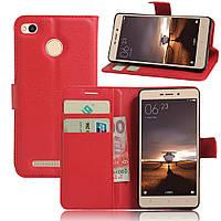 Чехол для Xiaomi Redmi 3s / Redmi 3 pro книжка кожа PU красный