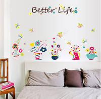 "Наклейка на стену, наклейка цветок, наклейки на шкаф, на зеркало ""Цветы в горшках Better Life"" (лист 50*70см)"
