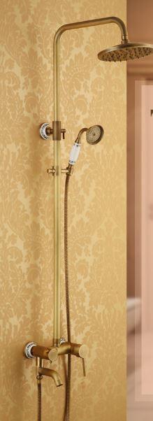 Душевая стойка для ванной комнаты со смесителем краном лейкой и верхним душем бронза 0181