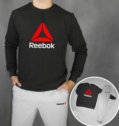 Спортивный костюм Reebok серо-черный топ реплика, фото 2