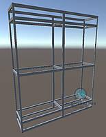 Комплект алюминиевых профилей и фурнитуры для самостоятельной сборки торговой витрины. Модель-25