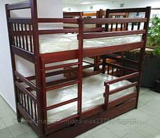 Кровать двухярусная трансформер Стандарт с ящиками и бортиками массив, фото 2
