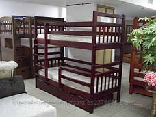 Кровать двухярусная трансформер Стандарт с ящиками и бортиками массив, фото 3
