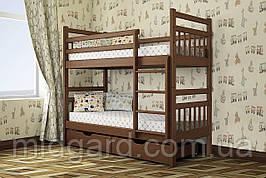 Кровать двухъярусная трансформер Стандарт с ящиками и бортиками массив