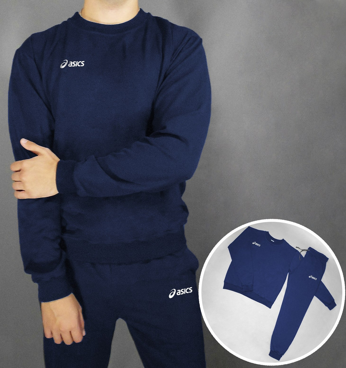 Спортивный костюм Asics темно-синий топ реплика