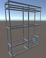 Комплект алюминиевых профилей и фурнитуры для сборки двухсекционной витрины. Модель-29