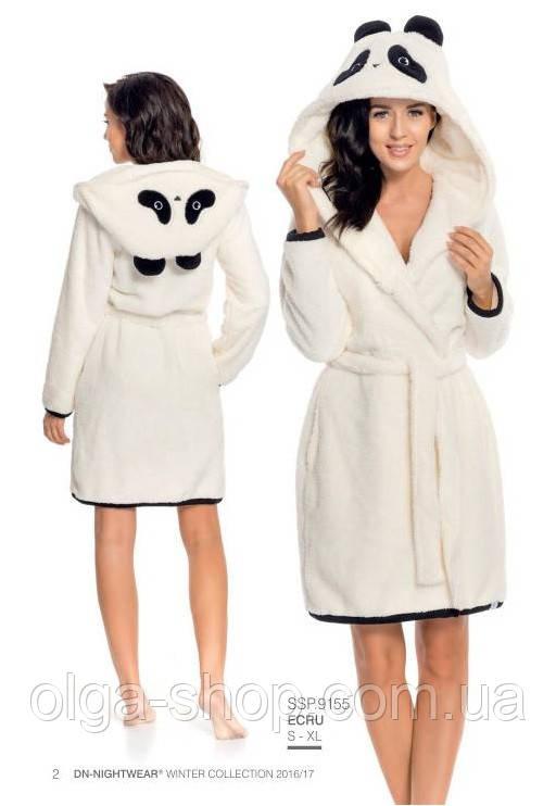 Халат женский домашний теплый банный зимний плюшевый светлый с капюшоном пояс Dobra Nocka 9155
