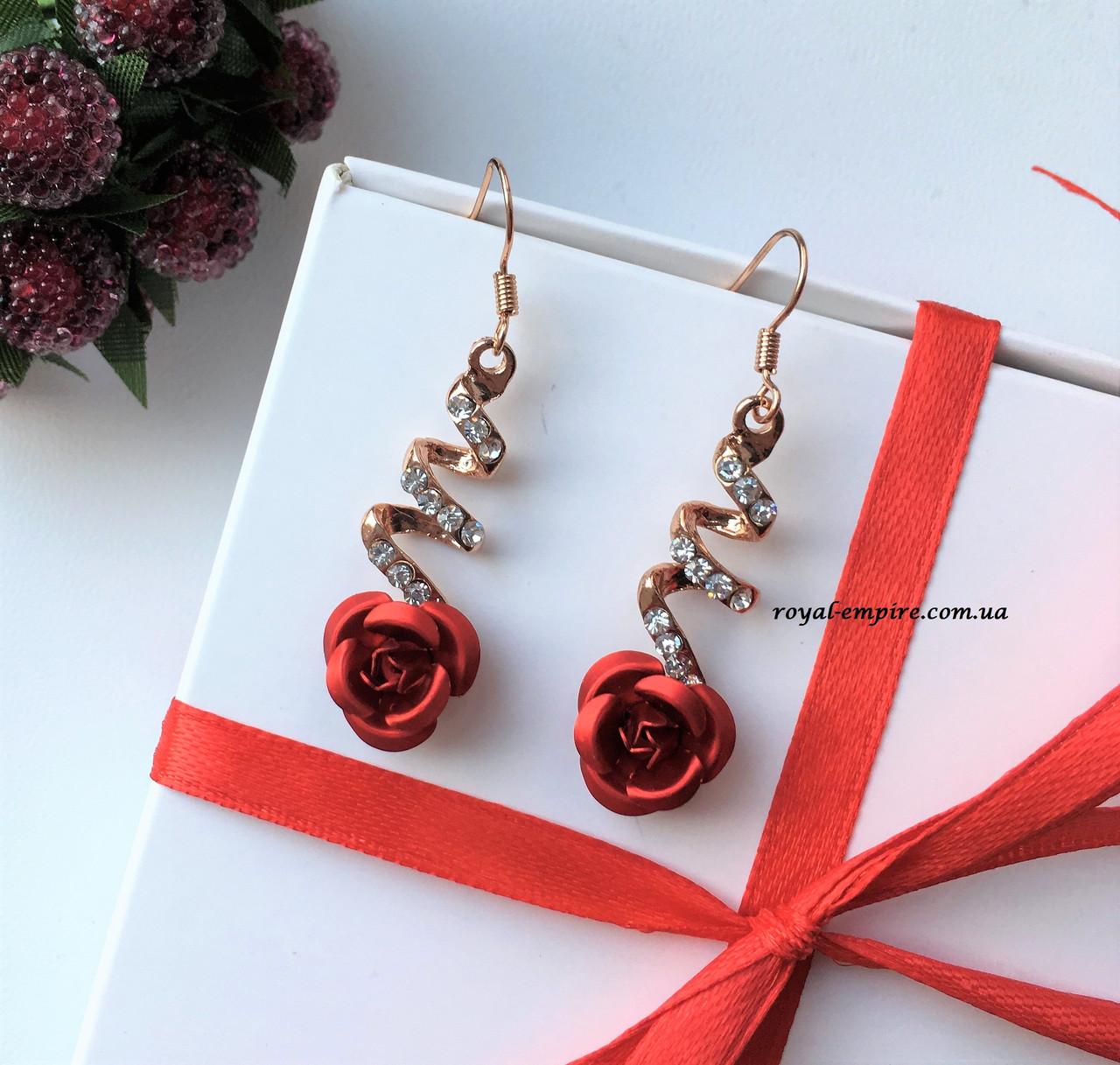 """Сережки """"Трояндочка"""" з червоною квіткою."""