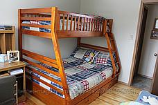 """Двухъярусная трехспальная кровать семейного типа """"Юлия """" трансформер массив, фото 2"""