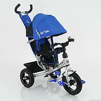 Велосипед детский трехколесный с надувными колесами Best Trike 5555 синий