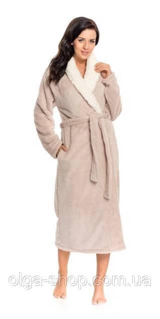 Халат женский домашний теплый банный зимний длинный плюшевый пояс Dobra Nocka 9156