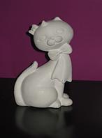 Гіпсова фігурка для розмальовки. Гипсовая фигурка для раскраски. Котик з бантом.висота 11.5 см