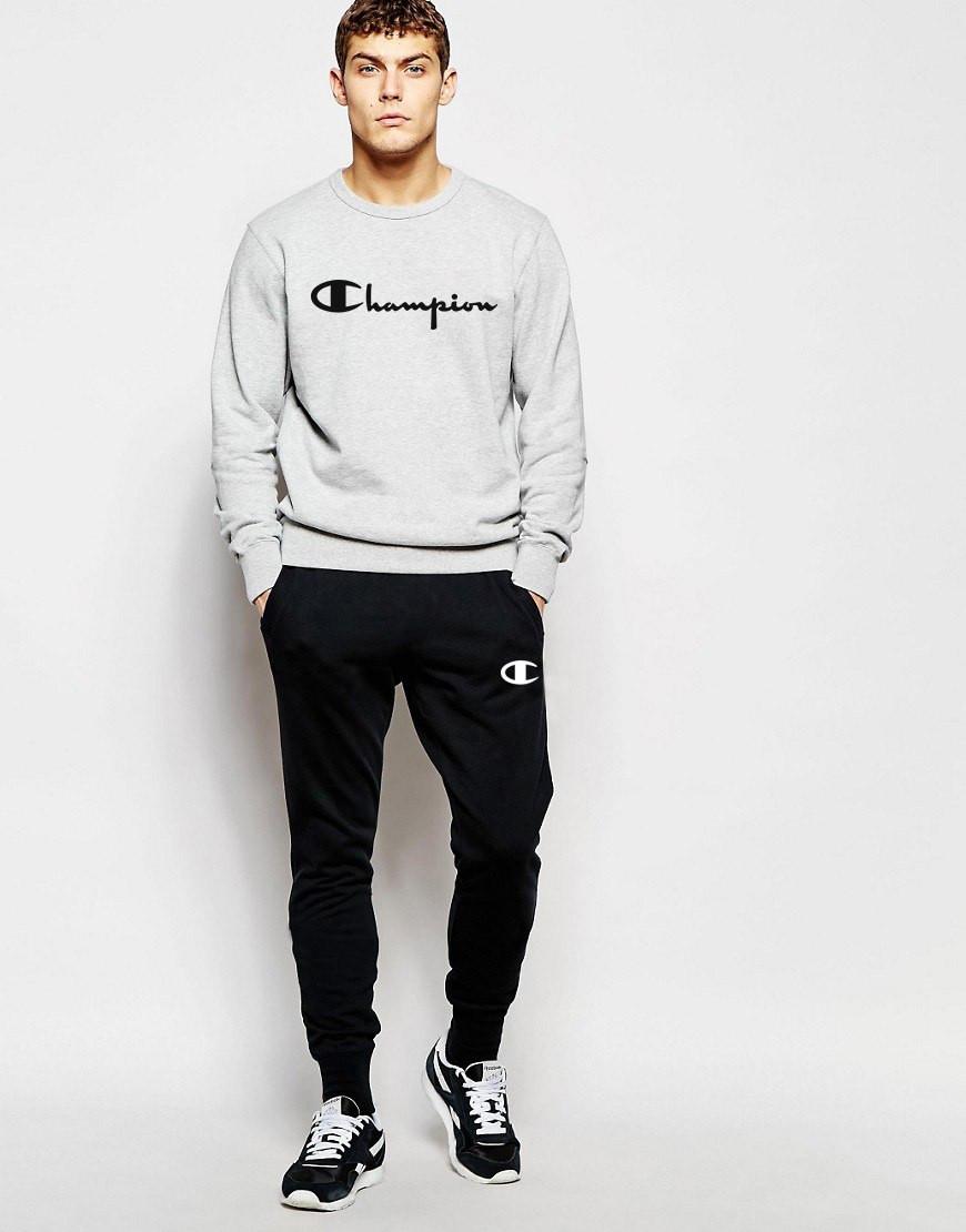 Мужской спортивный костюм Champion серо-черный топ реплика - Интернет-магазин  обуви и одежды 6b5e97ee229