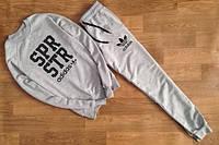 Мужской спортивный костюм Адидас серый топ реплика