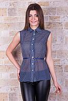 Блуза Сити 2 б/р темно синяя в белый горошек шифоновая  свободного кроя с отложным воротничком и ремешком