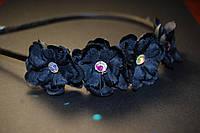 Обруч цветочек со стразами черный