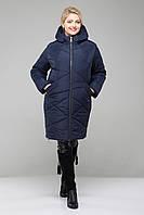 Зимнее женское пальто больших размеров-М-349 синее