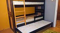 """Двухярусная трехспальная кровать семейного типа """"Елена """" трансформер массив"""