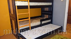 """Двухъярусная трехспальная кровать семейного типа """"Елена """" трансформер массив, фото 3"""