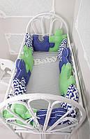 """Комплект бортиков в кроватку + простынь, """"Пазлы"""" Сине-зеленые на всю кроватку"""