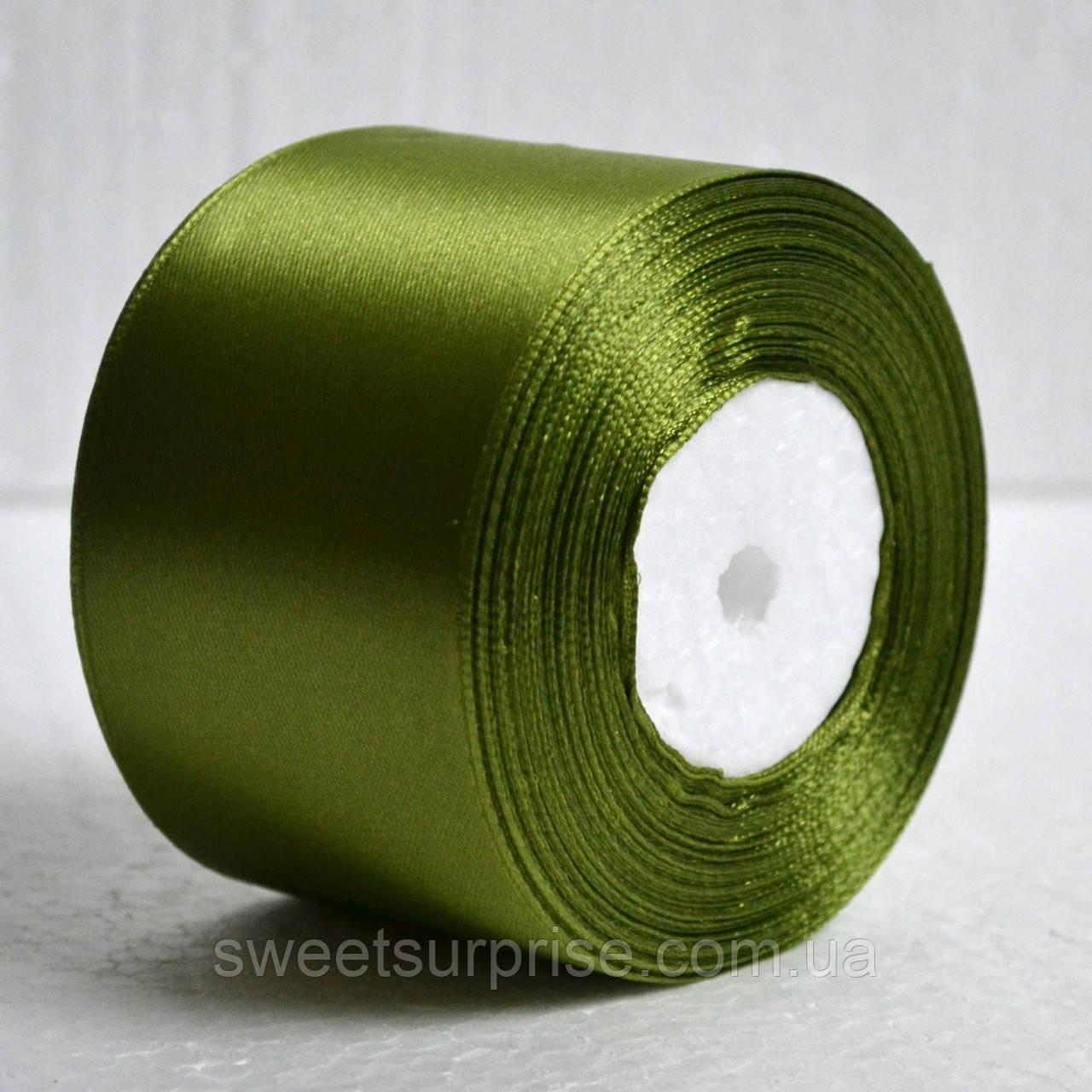 Лента атласная 48 мм (золотая оливка)