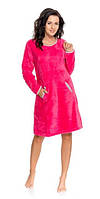 Сорочка, ночная рубашка женская теплая зимняя плюшевая розовая Dobra Nocka 8068