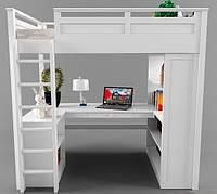 Двухярусная кровать-чердак Джерри (стол, комод, стеллаж) массив