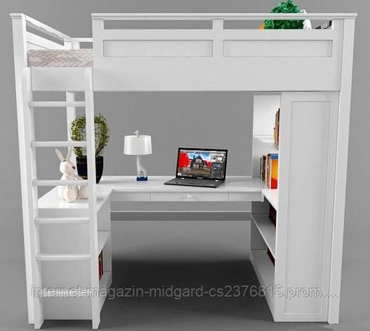 Двухярусная кровать-чердак Джерри (стол, комод, стеллаж) массив, фото 2