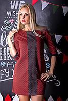 Стильное молодежное клубное красное укороченное  женское платье с черной гипюровой вставкой.