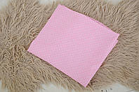 Простынь на резинке, розовая в мелкий белый горошек