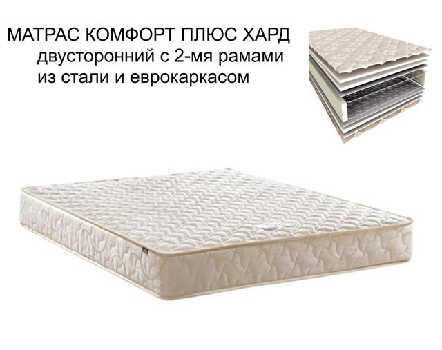 Матрас Комфорт Плюс Хард двусторонний с 2-мя рамами из стали и еврокаркасом (Высота до 18 см)