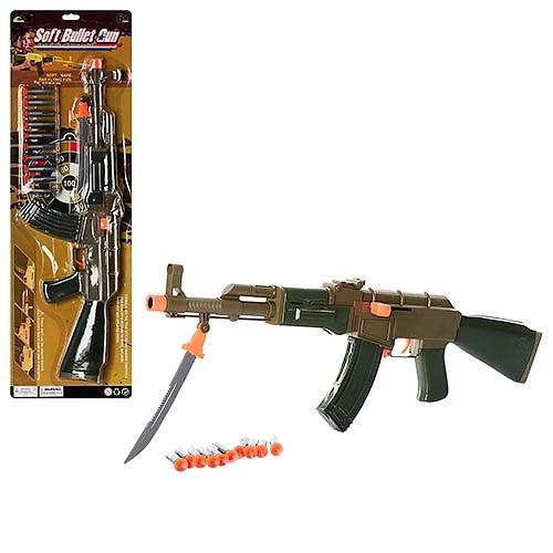 Автомат 558-30, пули на присосках 10штук в комплекте, мишень, штык-нож, на планшетке, подарок малышу для игры