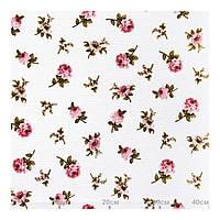 Ткань хлопок розовые мелкие цветы розы