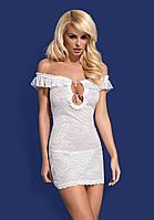 Эротическое нижнее женское белье, Diamond chemise white пеньюар, Obsessive, Diamond chemise white