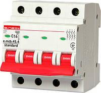 Модульный автоматический выключатель e.mcb.stand.45.4.C16, 4р, 16А, C, 4.5 кА