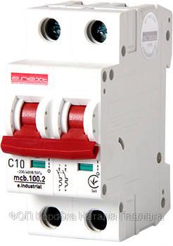 Модульный автоматический выключатель e.industrial.mcb.100.2.C10, 2 р, 10А, C, 10кА