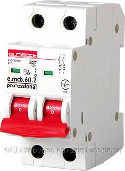 Модульный автоматический выключатель e.mcb.pro.60.2.B 6 new, 2р, 6А, В, 6кА, new