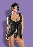 Черная кружевная сорочка Obsessive Julia black, фото 1