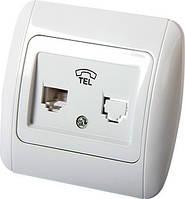 Розетка e.install.stand.814P1 телефонная одинарная с рамкой