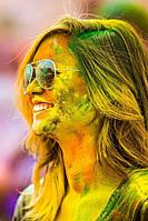Фарба Холі (Гулал), Жовто-Лимонна, фасуваня 100 грам, суха порошкова фарба для фествиалів, флешмобів, фото