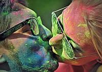 Фарба Холі (Гулал), Зелена, фасуваня 100 грам, суха порошкова фарба для фествиалів, флешмобів, фото