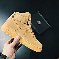 Кроссовки Nike Air Force 1 High Light Brown Flax(аир форс, эир форсы)