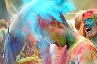 Фарба Холі (Гулал), Бірюзова, фасуваня 100 грам, суха порошкова фарба для фествиалів, флешмобів, фото