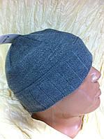 Спортивная  шапка с рожками двойная  цвет светло серый