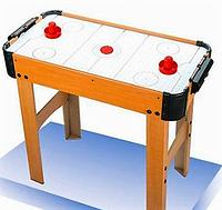 Хоккей А0016 воздушный, из дерева, на ножках, поле 69*35,5 см, шкала ведения счета, на батарейках, в коробке