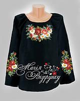 Заготовка женской вышиванки / блузки на черном полотне  НДч-02